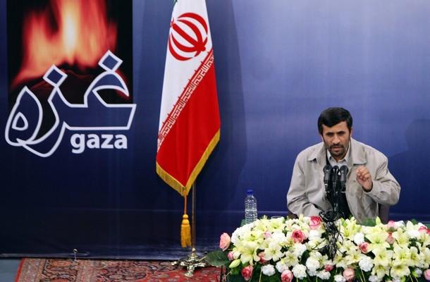 Press conf tehran 021509 w gaza backdroop