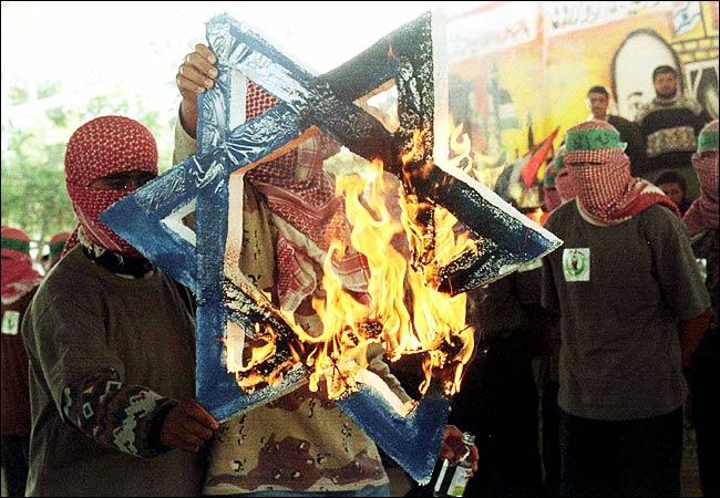 Hamas burns star of david when arafat met bibi in gaza