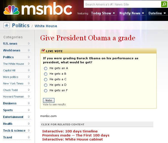Msnbc give obama a grade