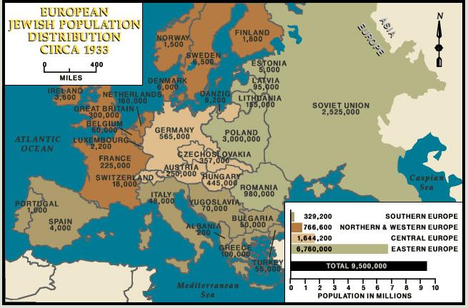 Map jewish population europe 1933