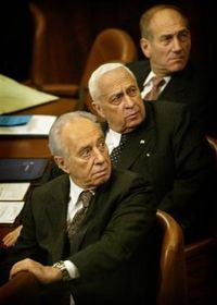 Peres sharon olmert look