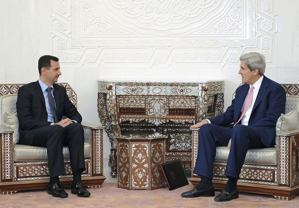 Assad john kerry damascus 040110