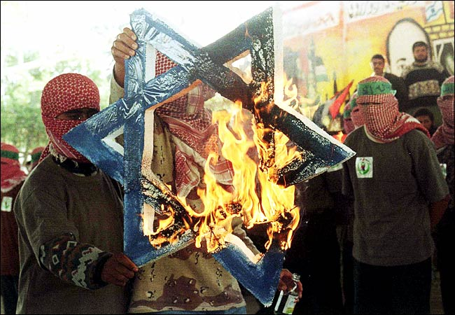 Hamas burns star of david when arafat met bibi in gaza
