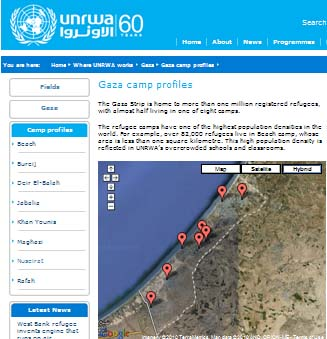 UNRWA camps GAZA map