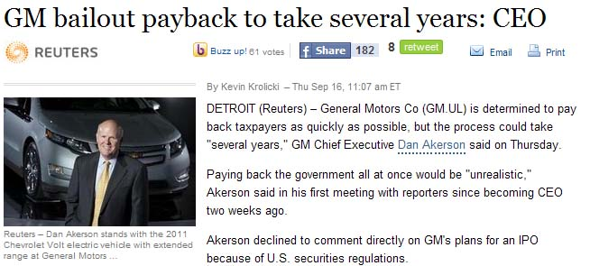 Gm bailout payback