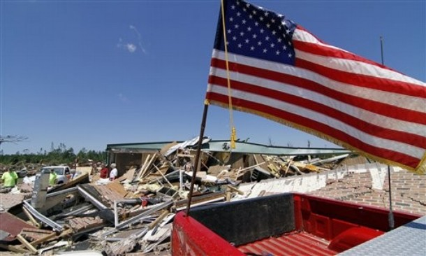 Flag at tornado damage Smithville MS 042811