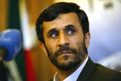 Ahmadinejad looking over his shoulder