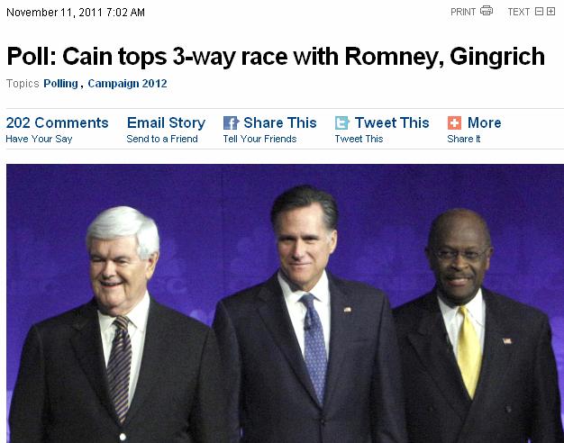 Cain tops 3 way poll 111111