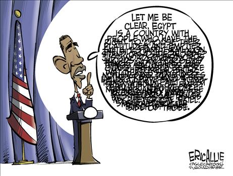 Egypt Double talk, obama cartoons