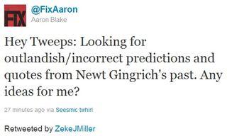 Aaron Blake tweet for dirt on newt