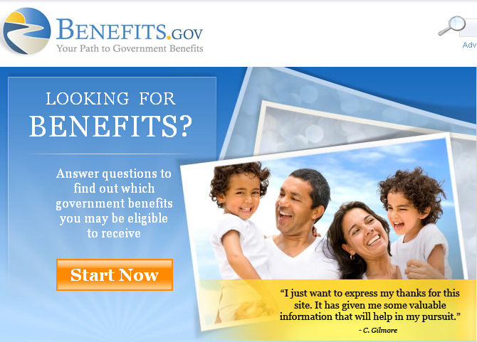 Benefits dot gov screenshot