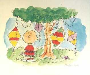 Charlie brown w kites in tree