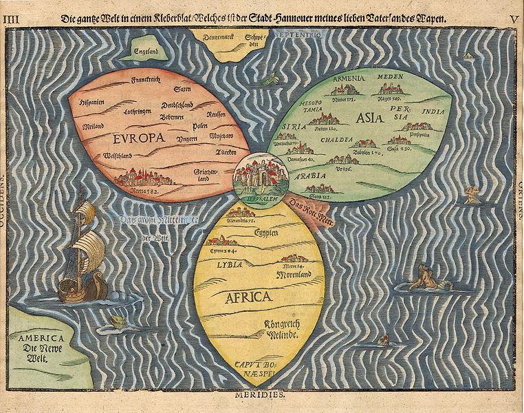 1581 woodcut cloverleaf map Jlem CTR