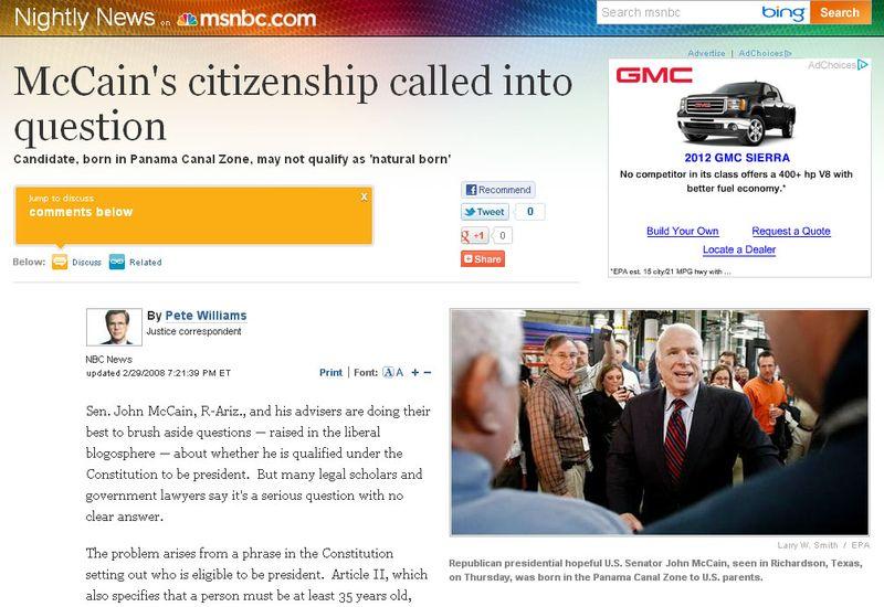 MSNBC Questioned JMcC Citizenship 02.29