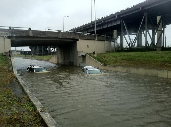 Hurricane isaac cars underwater
