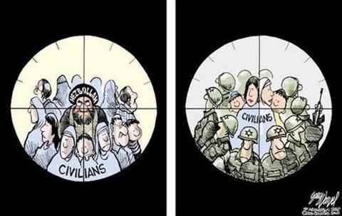 Cartoon human shields