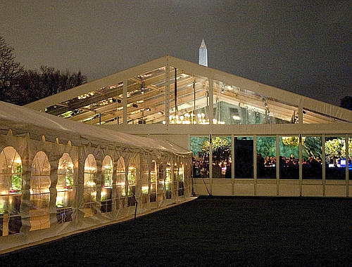 State dinner tent side