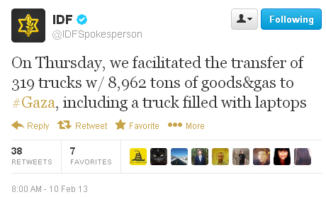 Trucks to gaza tweet
