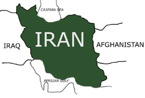 Map iran btwn iraq and afghanistan simple