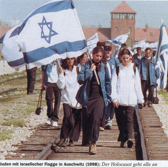Israeli flags at auschwitz