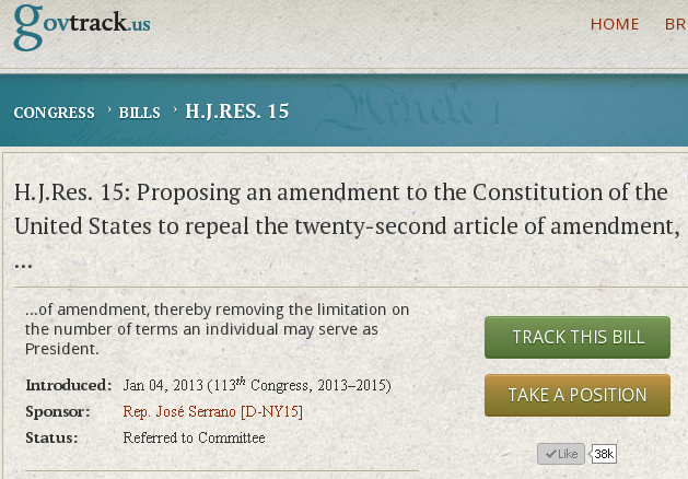 HJRes 15 Repeal Pres Term Limits