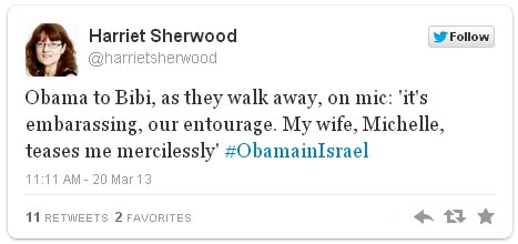 Tweet obama apology to Bibi