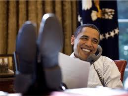 Feet on desk phone