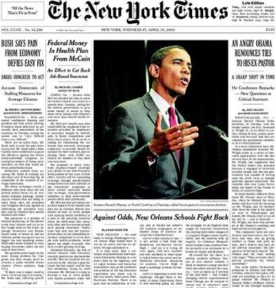 It's not enough for the New York Times to plaster the front page with their