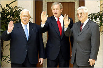 Abbas_sharon_and_bush_waving